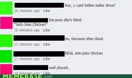 anti joke chicken,dead,facebook,Hellen Keller