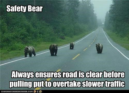 Safety Bear Always ensures road is clear before pulling put to overtake slower traffic