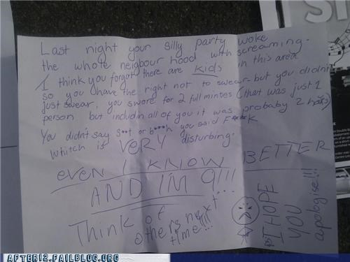 angry children morning after noisy neighbors note Party swearing think of the