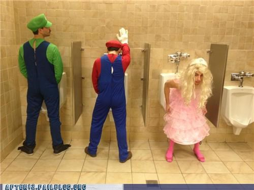 bathroom,costume,cross dressing,drunk,luigi,mario,mario bros,peach,princess peach,urinal