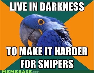 crouching,darkness,moving,Paranoid Parrot,snipers,window