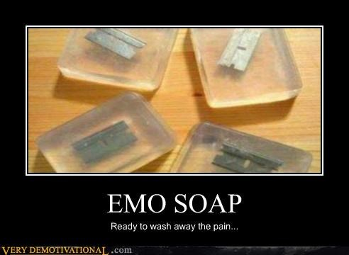 emo,hilarious,razors,soap