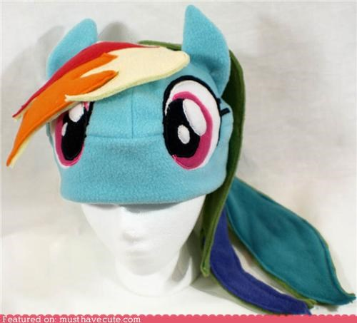 best of the week face fleece hat MLP my little ponies rainbow dash - 5370131456