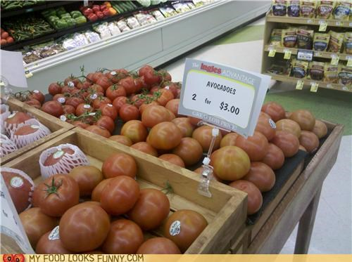 avocados,grocery store,mislabeled,sign,tomatoes