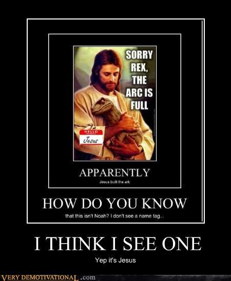 dinosaur hilarious jesus name tag - 5371791872