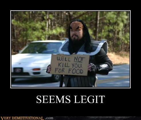 food hilarious homeless klingon Star Trek - 5372142336