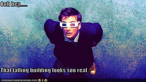 3-d glasses,building,David Tennant,doctor who,falling,the doctor
