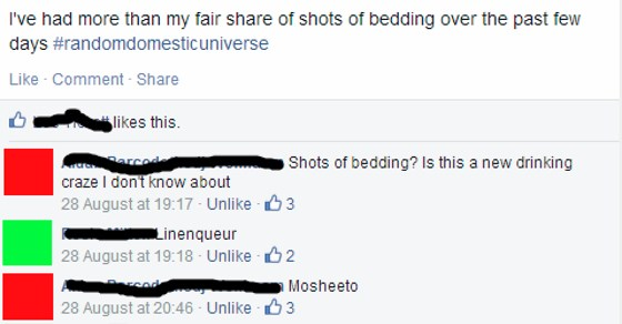facebook post and comments making puns about alcohol and bed sheets
