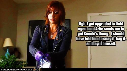 agent allison scagliotti artie artifact bag claudia donovan snag snooki tag thong warehouse 13