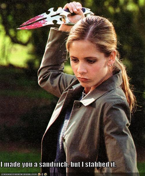 Buffy,Buffy the Vampire Slayer,i made you a cookie,sandwich,Sarah Michelle Gellar,stabbed,vampire