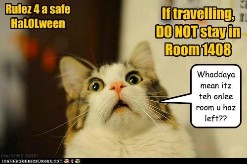 Rulez 4 a safe HaLOLween If travelling, DO NOT stay in Room 1408 Whaddaya mean itz teh onlee room u haz left?? Chech1965 301011