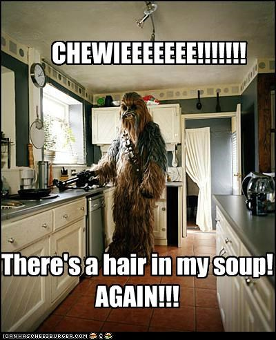 CHEWIEEEEEEE!!!!!!! There's a hair in my soup! AGAIN!!!