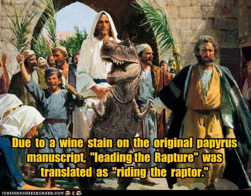 awesome,dinosaur,jesus,Raptor,RAPTURE,religious,riding the raptor,wtf
