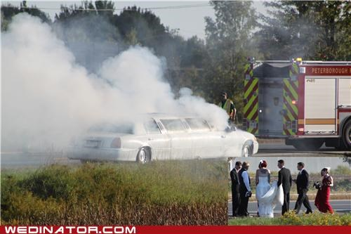 bride,disaster,fire,funny wedding photos,groom,limo