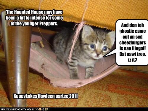 The Haunted House may have been a bit to intense for some of the younger Preppers. And den teh ghostie came out an sed cheezburgers is nao illegal! Dat nawt troo, iz it? Kuppykakes Howleen partee 2011