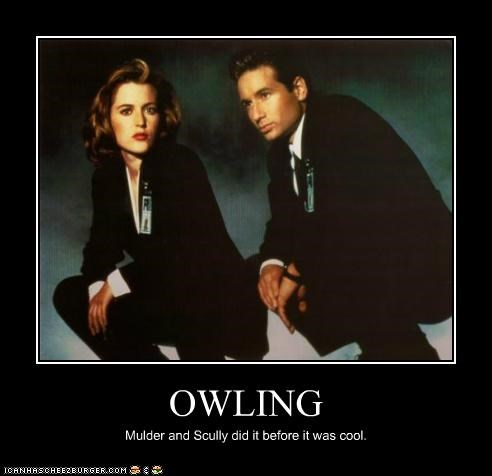 before it was cool,dana scully,David Duchovny,fox mulder,gillian anderson,owling,x files