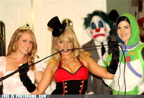 buzz lightyear,clown,costume,creepy,girls,halloween,Party
