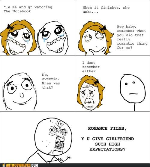 comic,expectations,movies,rage comic,romance,romantic comedies,Ryan Gosling,the notebook,We Are Dating