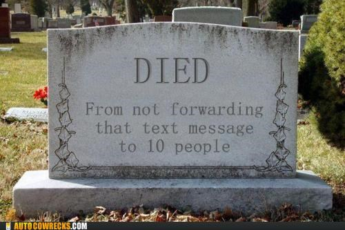 chain letter Death died gravestone Hall of Fame spam - 5377065984