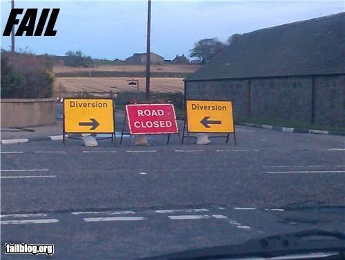 Diversion FAIL Road closure and diversions signed like this for about a week, near Newmacher, Aberdeenshire, Scotland.