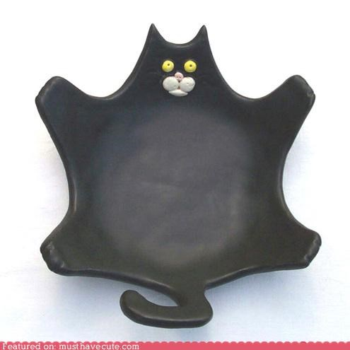 black cat ceramic soap dish squished