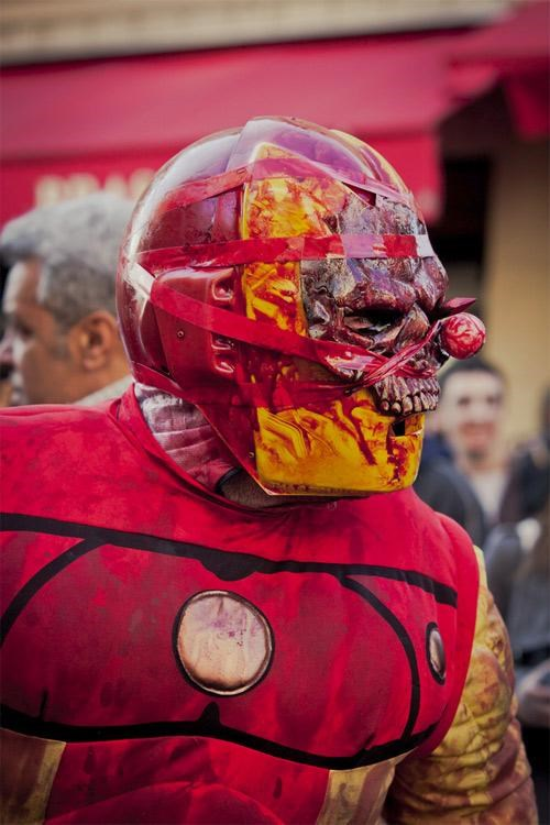 cosplay,iron man,superheroes,zombie walk paris,zombie