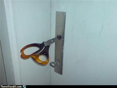 door knob,dual use,locked up,scissors
