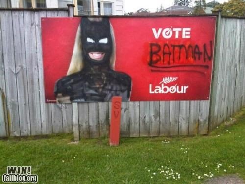 batman election graffiti hacked irl super hero tag voting - 5378902016