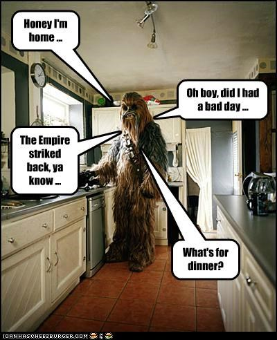 bad day,chewbacca,dinner,Empire Strikes Back,home,kitchen,star wars,work