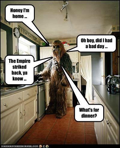 bad day chewbacca dinner Empire Strikes Back home kitchen star wars work - 5379145472