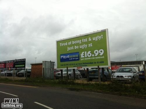 advertisement billboard gym honesty ouch work out