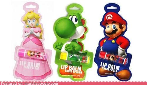 lip balm,mario,princess peach,yoshi