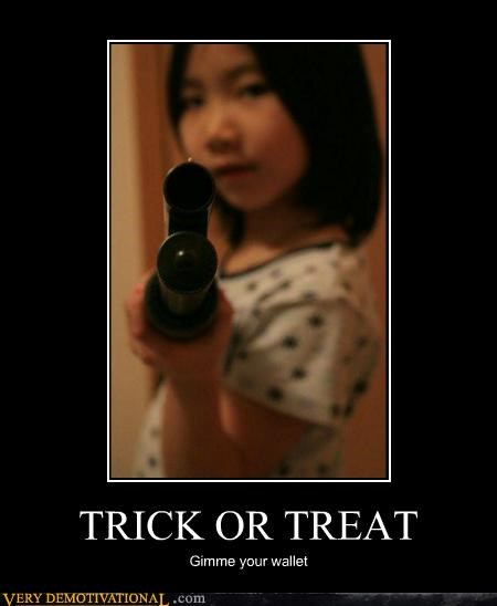 Asian girl hilarious shotgun trick or treat wallet - 5379382272