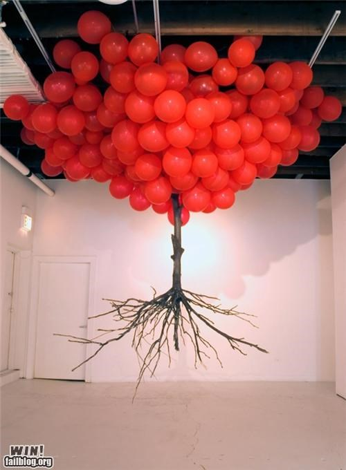 art,Balloons,floating,installation,tree,weird
