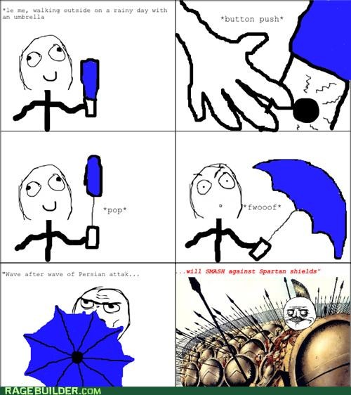 300,Rage Comics,shield,umbrella