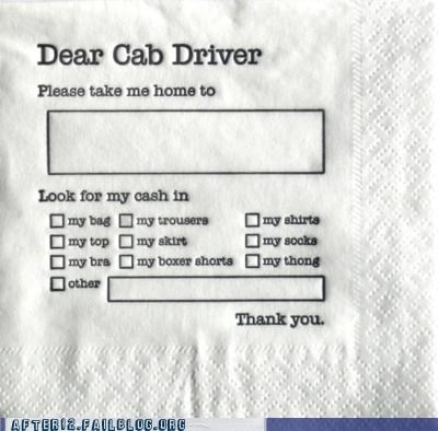 Buried Treasure cab drunk handy napkin scavenger hunt treasure underpants