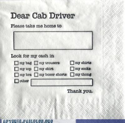 cab drunk napkin - 5379657728