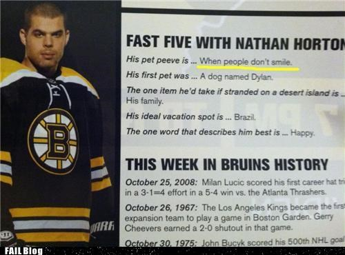 bruins,g rated,hockey,interview,Nathan Horton,nice photo,smiling,sports