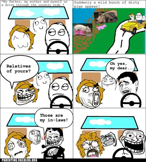 dad farm in laws mom Parenting Fail pig rage comic troll dad - 5380404480