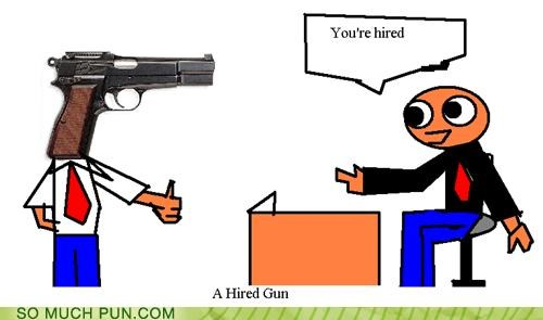 double meaning gun hired idiom literalism - 5380745728