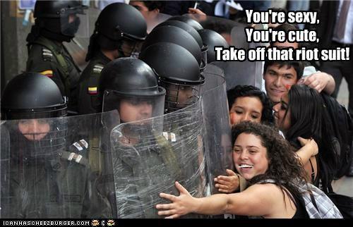 cute happy hugging Pundit Kitchen riot police sexy - 5381259008
