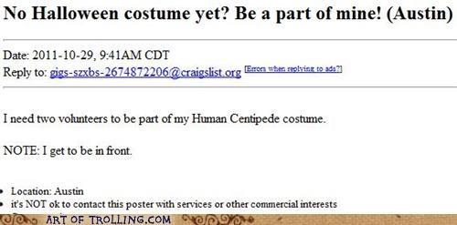 costume,halloween,human centipede,shoppers beware