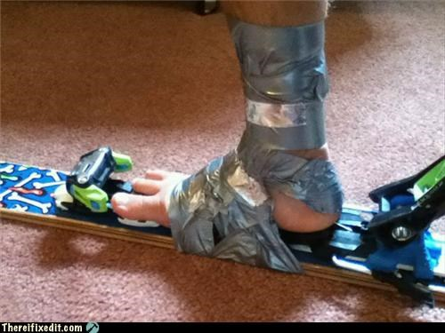 boots,duct tape,shoes,skis