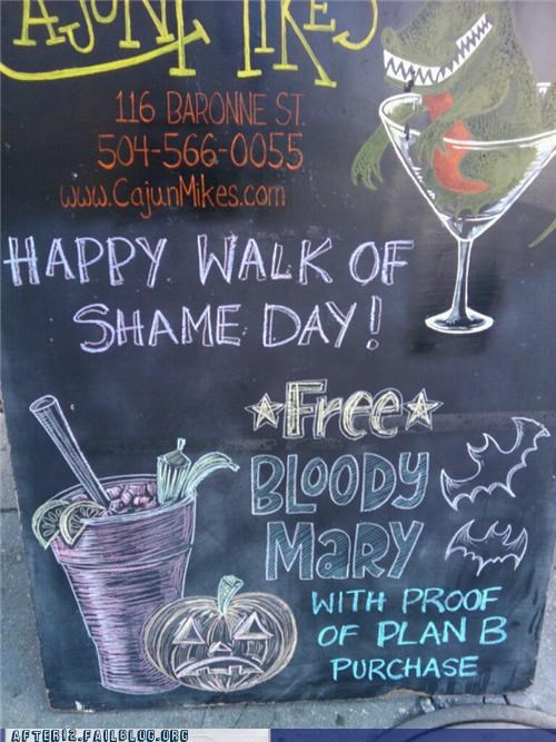Ad bar bloody mary cajun-mikes halloween morning after plan b sign walk of shame