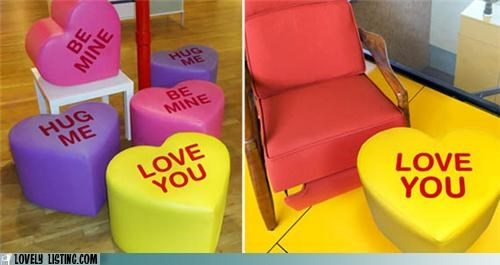 candy,conversation heart,hearts,message,ottoman,stool