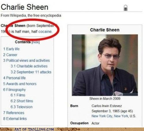 Charlie Sheen drugs not sexy white stuff wikipedia - 5382625536