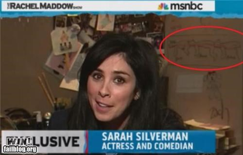 human centipede news photobomb Sarah Silverman talk show wait what - 5382797568