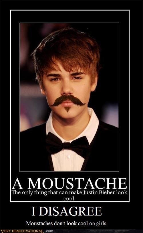 disagree hilarious justin bieber moustache - 5382809856