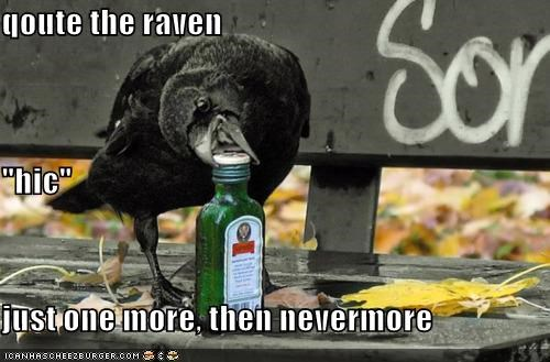 "qoute the raven ""hic"" just one more, then nevermore"