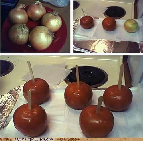 candy apples,caramel apples,gross,IRL,onions